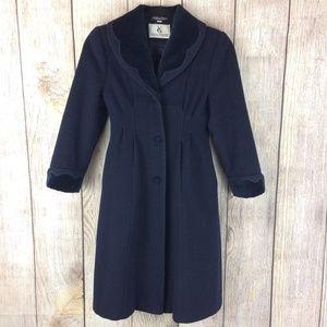 Young Gallery Navy Wool Velvet Girls Overcoat Sz 8